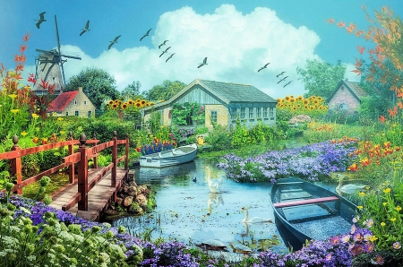 The Beauty of Flowers on a Misty Morning - bridge, mill, sunflowers, houses, birds, river, windmill, artwork, boats, painting