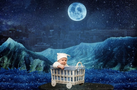 World of Wonders - moon, baby, mountains, bed, manipulation