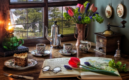 Still Life with Tulips - lamp, tulips, cups, still life, window, book