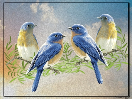 BIRDS ON A BRANCH - BIRDS, ART, IMAGE, ABSTRACT