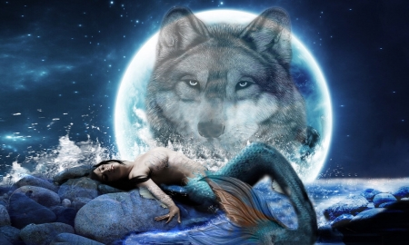 Mermaid And A Wolf Moon Fantasy Abstract Background Wallpapers On Desktop Nexus Image 2493850