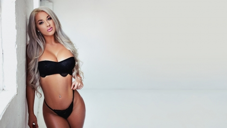 Laci Kay Somers - platinum blonde, Laci Kay Somers, models, blondes, simple background