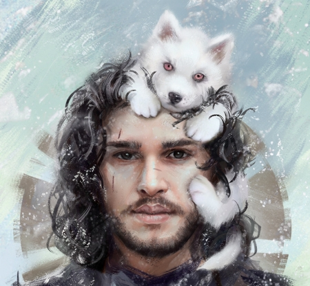 Jon Snow And Little Ghost Fantasy Abstract Background