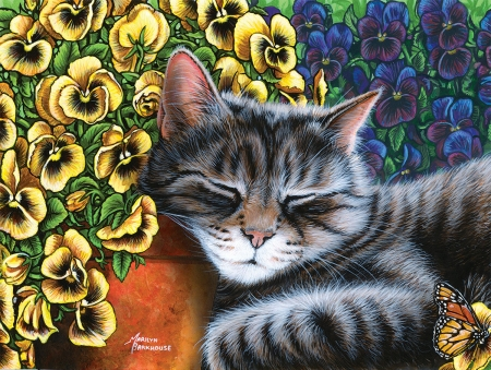 :) - pictura, cat, pisici, marilyn barkhouse, art, sleep, yellow, nap, pansy, flower, garden, painting