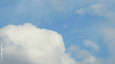 A Moon in the Clouds - skies, cloudy, cloud, lunar, m00n, 1une, blue sky, clouds