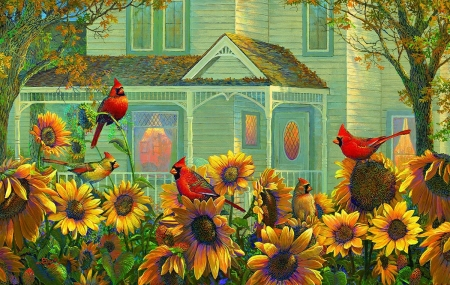 Autumn Cardinals - houses, colors, birds, nature, fall season, autumn, love four seasons, attractions in dreams, cardinals, paintings, leaves, sunflowers