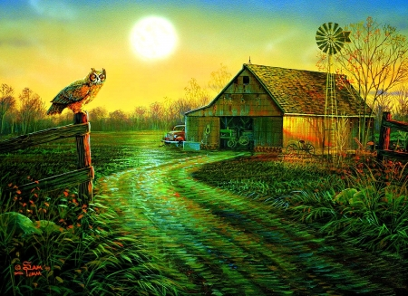 Late Summers Eve - paintings, love four seasons, farms, birds, summer, attractions in dreams, nature, owl, sunsets, fields
