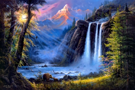 Beneath the Falls - art, mountain, rays, paradise, waterfall, beautiful, bears, falls