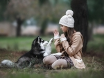 Girl and Husky