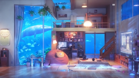 Aqua Room - art, japan, house, japanese, indoor, aqua, room, orginal, anime