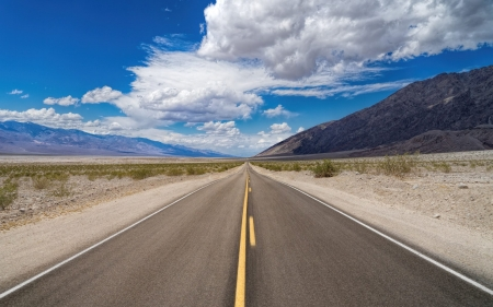 Road in Desert - desert, clouds, road, landscape, arid