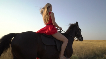 As She Rides Away . . - cowgirl, red dress, ranch, outdoors, women, horses, fashion, field, style, blondes, western