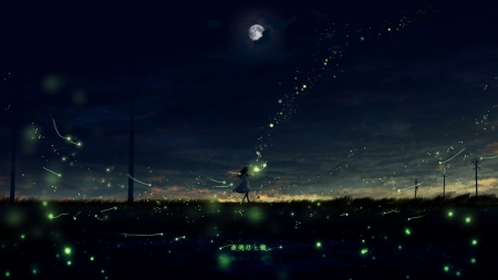 Glow of Fireflies - Pretty, Anime, Grass, Scenic, Beautiful, Amazing, Pole, Dusk, Moon, Clouds, Magical, Girl, Fireflies, Night