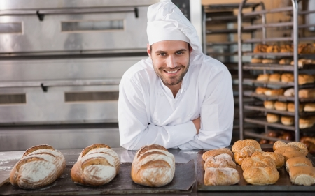 Smile - bread, smile, uniform, men, cook
