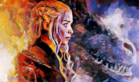 Daenerys - art, game of thrones, daenerys targaryen, painting, by cehenot, cehenot, pictura, dragon