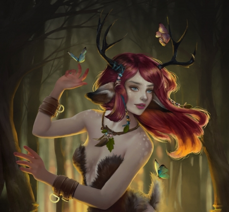 Forest nymph - luminos, redhead, girl, raluca porumbacu, butterfle, horns, forest, elf, nymph, fantasy, druid