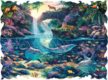 Jungle Paradise - birds, puzzle, jigsaw, dolphins, jungle