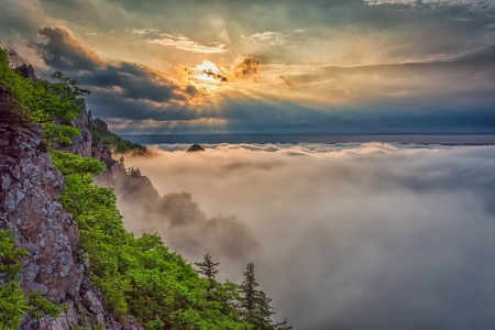 Above the Clouds - trees, clouds, rock, beauty, sunrise, nature
