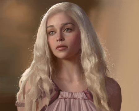 Young Daenerys - portrait, pink, junxiao fang, art, frumusete, luminos, game of thrones, Emilia Clarke, fantasy, young, girl, daenerys targaryen, face