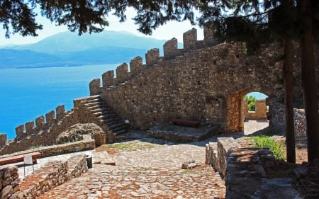 Nafpaktos Fortress, Greece - gate, fortress, Greece, wall, bench