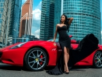 Ferrari and Model in Black