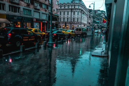 Rainy weather - hue, urban, dusky, rain, abstract, weather, street, cyan, photography, UHD