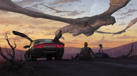 :) - art, fantasy, luminos, car, flying, camera, dragon, couple, man