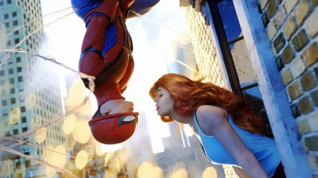 Before we go - spiderman, comics, magnuscreative, couple, red, art, redhead, luminos, fantasy, girl, blue