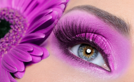 pink make up - people, make up, gerberas, models, flowers, pink, fashion