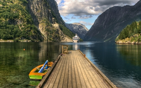 Pier - boat, ship, pier, yacht, mountains, fjord