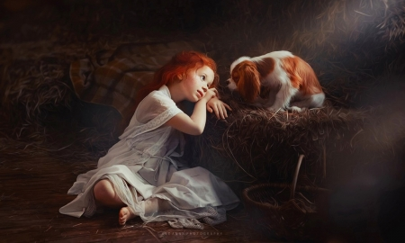 Unconditional Love - Brown, Little girl, love, adorable, sweetness, dog, puppy, photograpy, tenderness