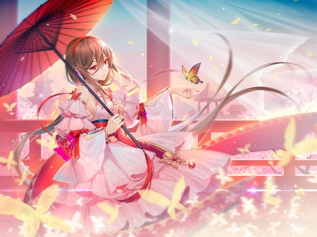 VSinger - pretty, scenic, dress, hd, cg, adorable, beautiful, floral, sweet, pillars, nice, butterfly, anime, love, flowers, beauty, hot, anime girl, long hair, lovely, female, brown hair, sexy, cute, kawaii, girl, oriental, petals, lady, scene, maiden