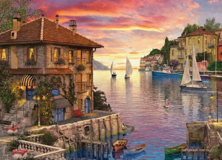 Mediterranean Harbor - mediterranean, cobblestone, homes, painting, walk, puzzle, lake, harbor