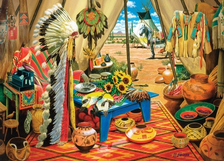 Trading Post - head, indian, teepee, post, native, american, feathers, pelts, dress, jewlery