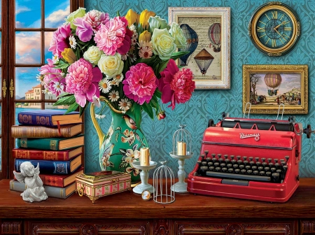 Writers Paradise - candle, flowwers, type, writer, paradise, pictures, painting, puzzle