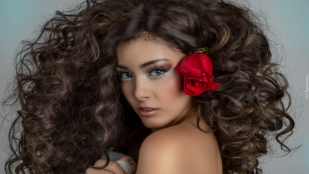 red rose in hair - flowers, hair, mdels, fashion, red