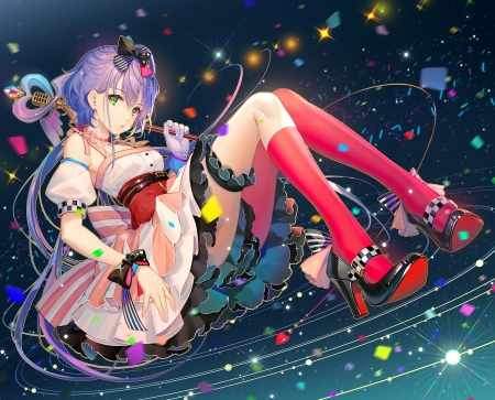 Luo Tianyi - vocaloid, red, tidsean, girl, anime, manga, luo tianyi, shoes