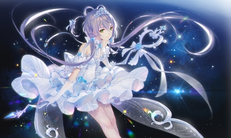 Luo Tianyi - vocaloid, girl, tidsean, anime, manga, white, luo tianyi, blue