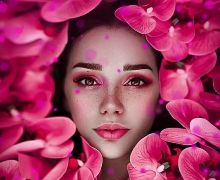 Artemis - goddess, svetlana belyaeva, face, pink, woman, model, girl, artemis, orchid, flower