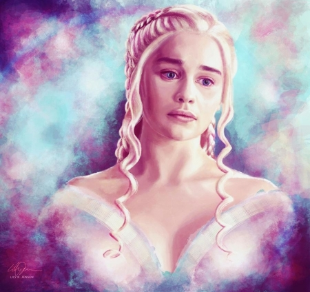 If I look back I'm lost - girl, game of thrones, daenerys targaryen, lilyrjensen, pink, portrait, blue, art, luminos, fantasy