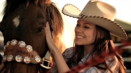 We're Close Friends . . - hats, cowgirl, ranch, tv, outdoors, women, horses, brunettes, actors, style, western