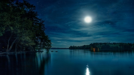 Full Moon Over the Lake - moon, over, lake, full, blue