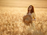 Model in a Field of Wheat