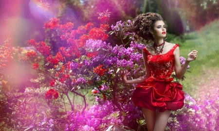 Fashion Model in a Red Dress - model, red dress, feminine, flowers, outdoors, pretty, lovely, Female, brunette, Fashion, lady