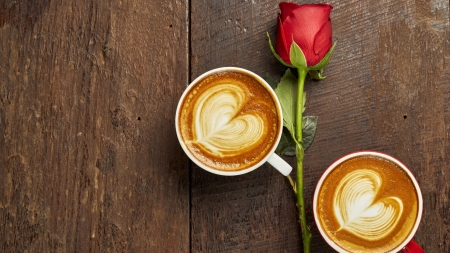 ❤ - coffee cups, still life, table, two, rose, cappuccino, hearts