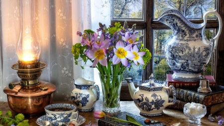 Rainy Day - table, books, window, curtains, rain drops, vase, oil lamp, flowers, spoon