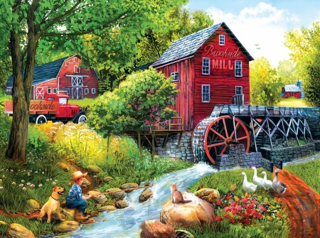 Brookside Mill - watermill, car, painting, flowers, river, child, artwork, dog