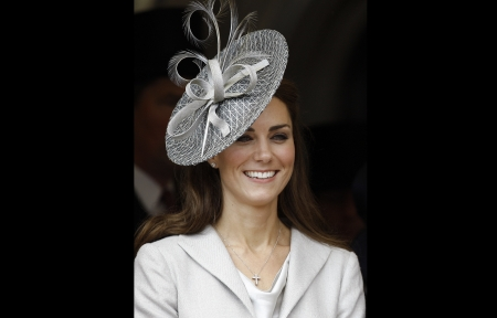 ° Curly Fascinator ° - ribbon, earrings, Duchess, smile, framed, British, hat, Kate, grey, Cate, fascinator, cross, Catherine, pretty, suit, elegance, blouce, necklace, brunette