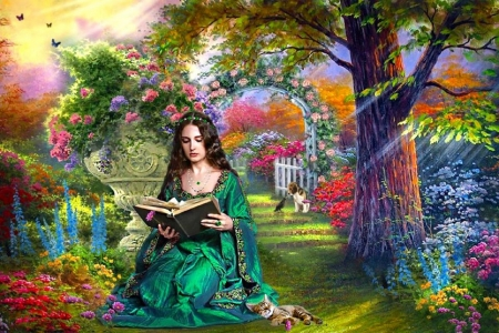 Girl Reading - digital, garden, flowers, woman, pretty, art, gown, book, beautiful, fantasy, girl, reading, wallpaper