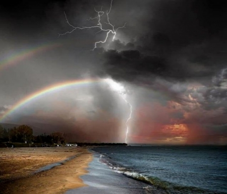 Ominous Canada Beach And Two Rainbows - Two, Beach, Canada, Rainbows, Ominous